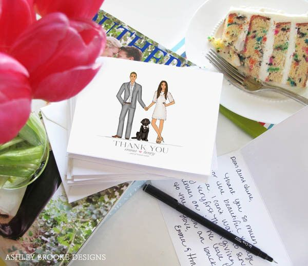 "<strong>21. Have fun with your thank-you cards.</strong> A custom illustration makes signing all of those notes that much more bearable (and, dare we say it, fun). <br /><br /><strong>Related:</strong> <a href=""http://www.bridalguide.com/blogs/from-dianes-desk/thank-you-note-rules"" target=""_blank"">Etiquette Q&amp;A: ""What Should We Write in Our Thank-You Notes?""</a>"
