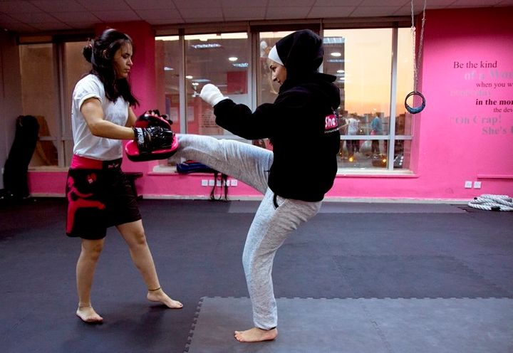 Each month at SheFighter academy in Amman, Jordan, around 150 women learn a combination of taekwondo, boxing and self-defense