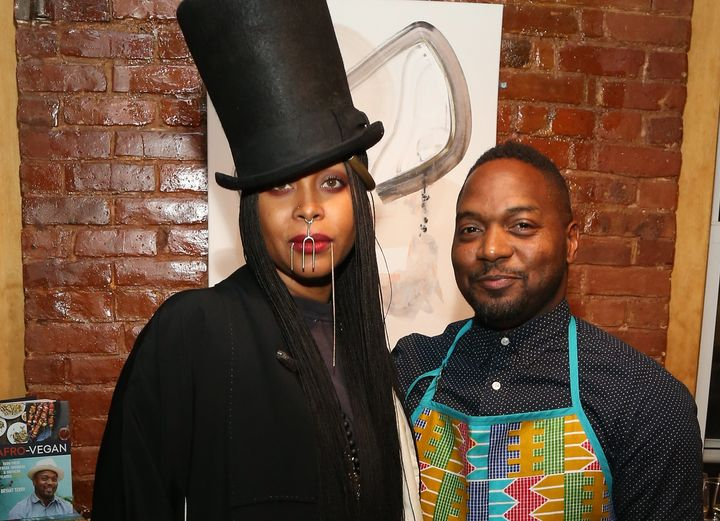 Erykah Badu and Chef Bryant Terry pose for a picture.