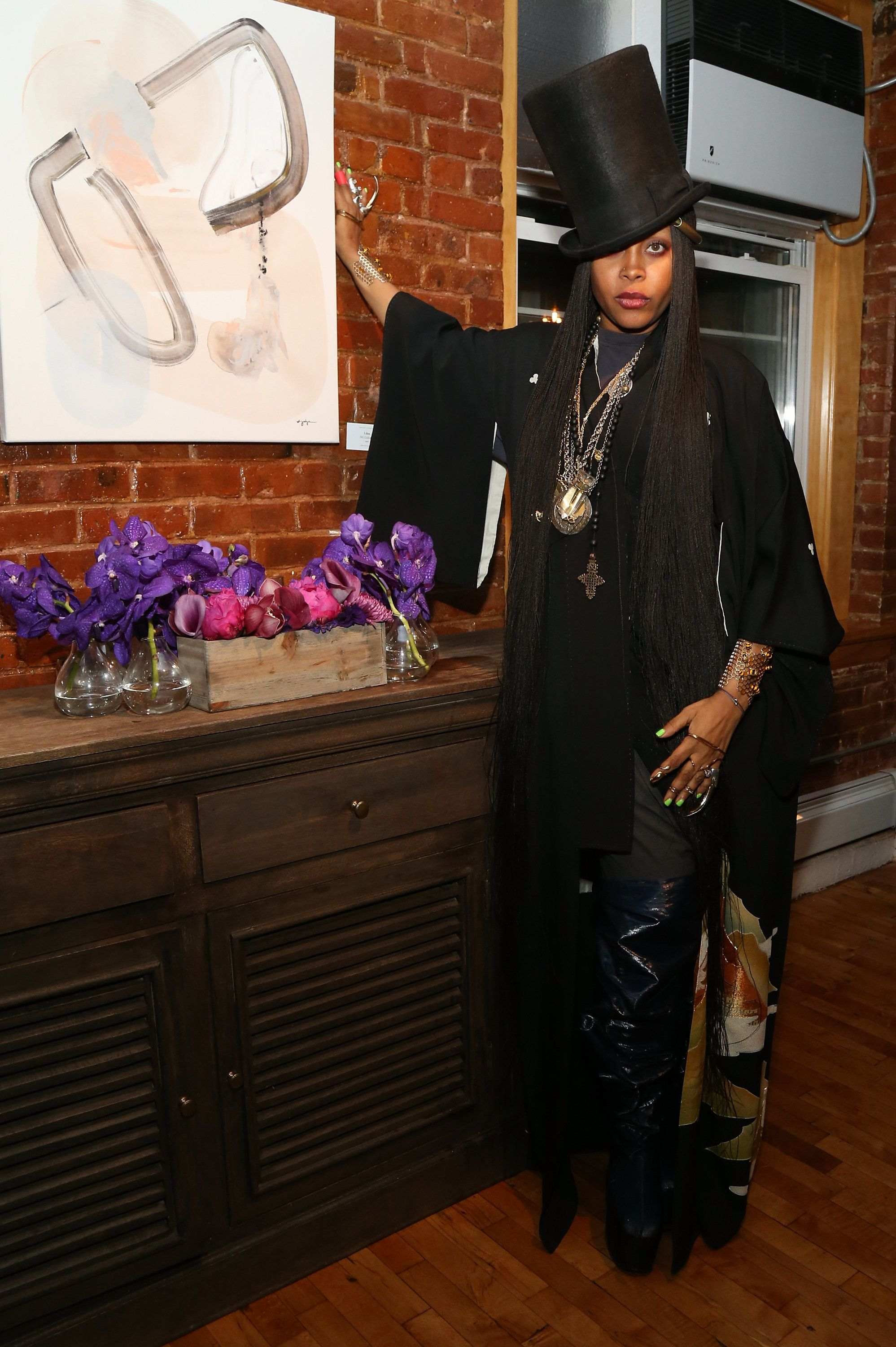 NEW YORK, NY - NOVEMBER 21:  Recording artist Erykah Badu attends the Soul Train Soul Food Vegan Dinner Party  on November 21, 2016 in New York City.  (Photo by Bennett Raglin/Getty Images for BET)