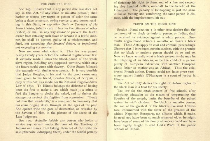 "Criminal Code Section of the Illinois State Code summarized in ""The Illinois Black Code"" . Author, Zebina Eastman, 1883"