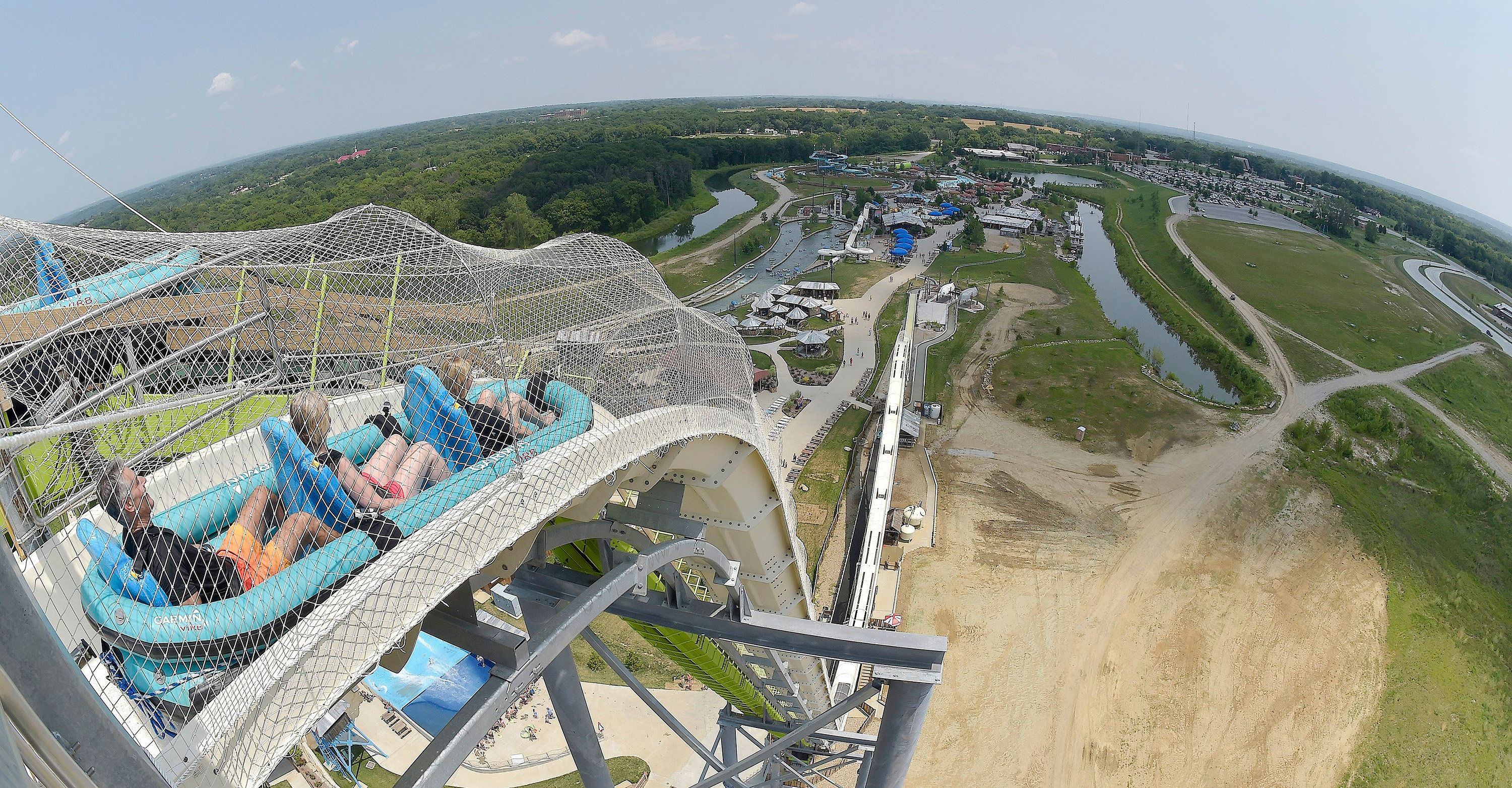 At 168 feet, Verrückt is the tallest water slide in the world.