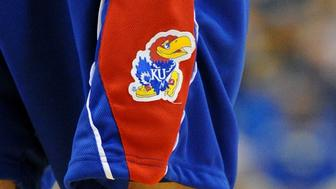 06 December 2009: The Kansas Jayhawk logo during an NCAA basketball game between the Kansas Jayhawks and the UCLA Bruins at Pauley Pavilion in Westwood, CA. (Photo by Chris Williams/Icon SMI/Icon Sport Media via Getty Images)