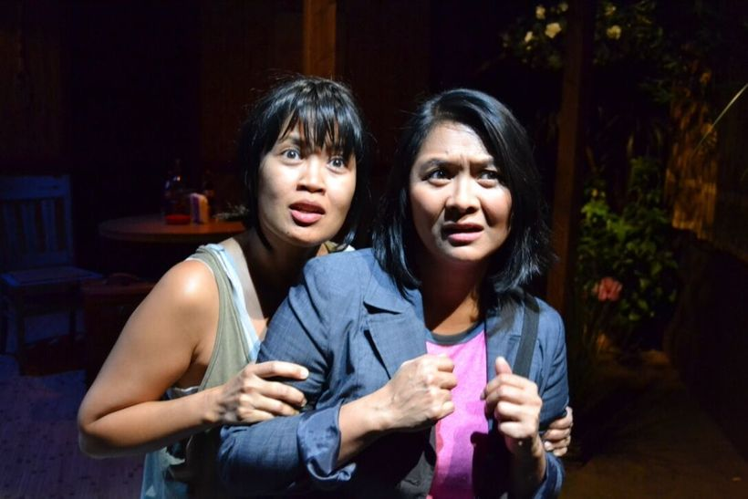 Evie Abat and Myra Ocenar in <em>Bloodletting</em> by Boni B. Alvarez