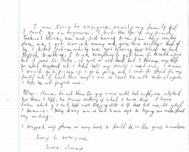 The fake suicide note written by Port found on the body of Daniel