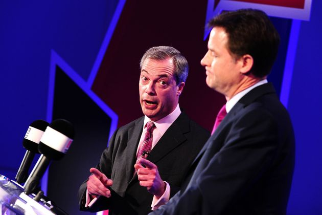 Farage (left) and Clegg (right) during a series of debates about the EU in