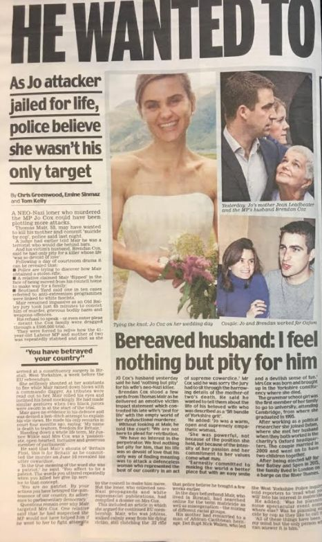 Some of the Daily Mail coverage of Jo Cox's murder, which began on page