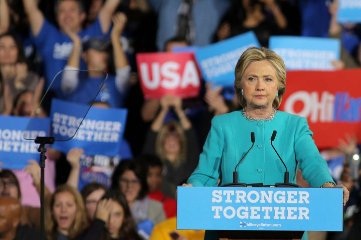 U.S. Democratic presidential nominee Hillary Clinton pauses as she speaks during a campaign rally in Cleveland, Ohio, U.S., N
