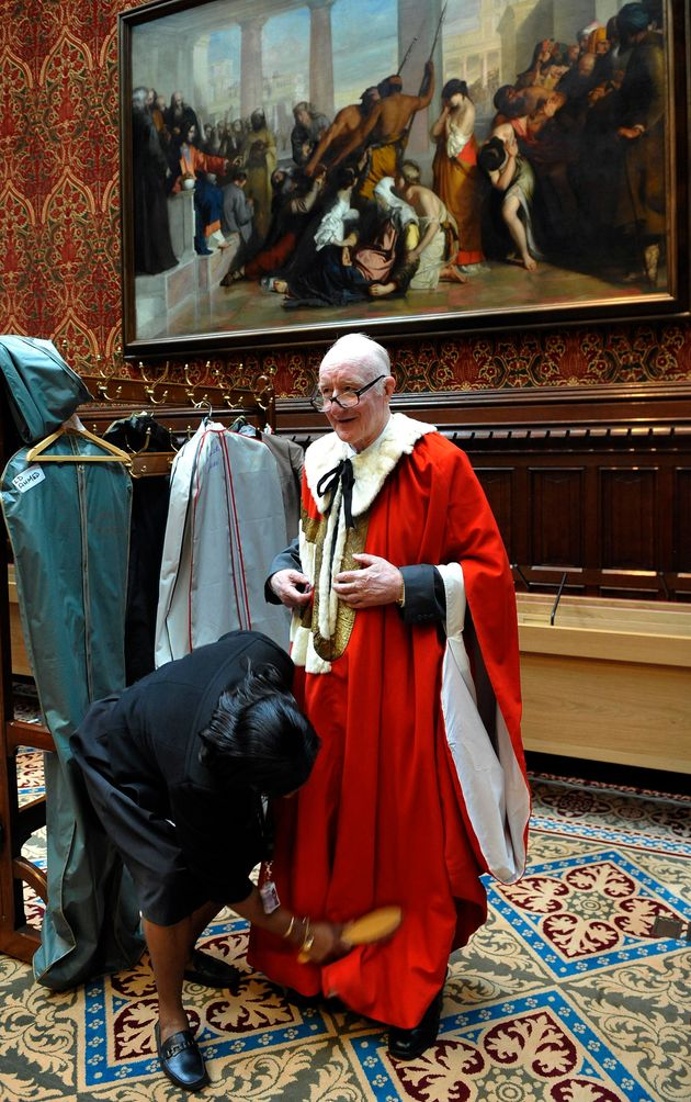 Lord Tom Taylor of Blackburn before the State Opening of Parliament at the Palaces of