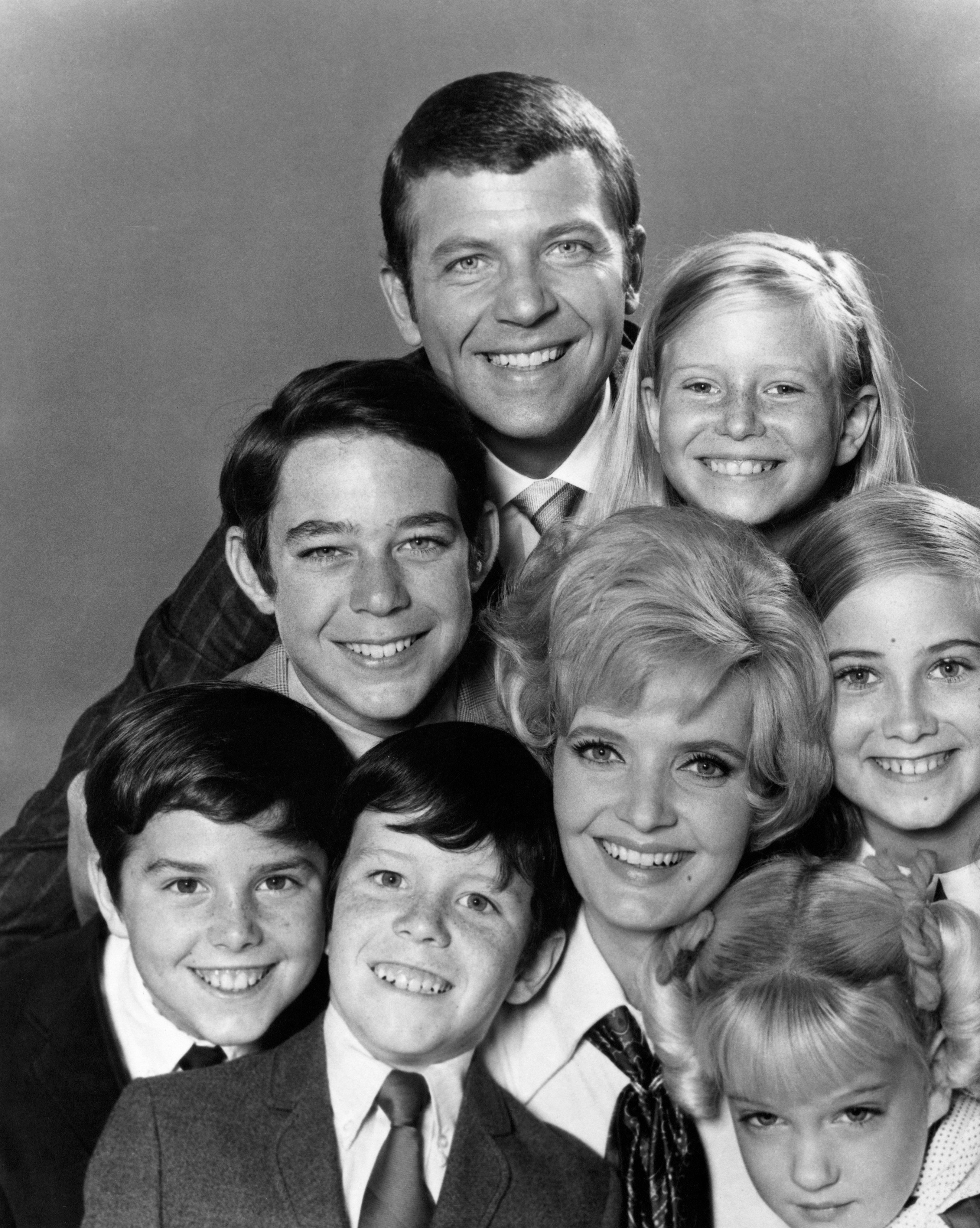 Publicity handout of the cast of 'The Brady Bunch' television series, all beaming with their heads stacked on top of each other. Ca. 1970s. (Photo by �� John Springer Collection/CORBIS/Corbis via Getty Images)