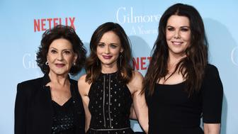 LOS ANGELES, CA - NOVEMBER 18:  (L-R) Actresses Kelly Bishop, Alexis Bledel and Lauren Graham arrive at the premiere of Netflix's 'Gilmore Girls: A Year In The Life' at the Regency Bruin Theatre on November 18, 2016 in Los Angeles, California.  (Photo by Amanda Edwards/WireImage)