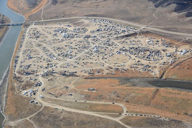 Dakota Access Pipeline protesters are seen in this aerial shot of the Oceti Sakowin campground near the...