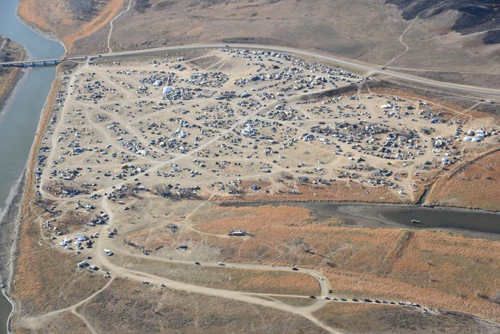 Dakota Access Pipeline protesters are seen in this aerial shot of the Oceti Sakowin campground near the town of Cannon Ball,