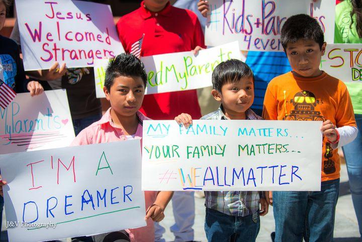 Kids at DACA rally