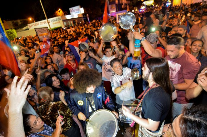 People took to the streets of Little Havana in Miami to celebrate the death of former Cuban leader Fidel Castro late Friday.