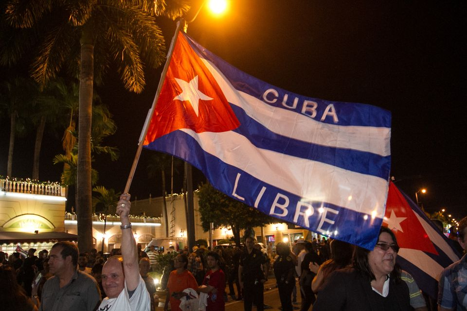 Cuban-Americans celebrate upon hearing about the death of longtime Cuban leader Fidel Castro in the Little Havana neighborhoo