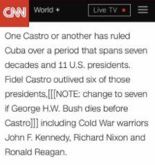CNN Mistakenly Circulates Prewritten Fidel Castro Text.