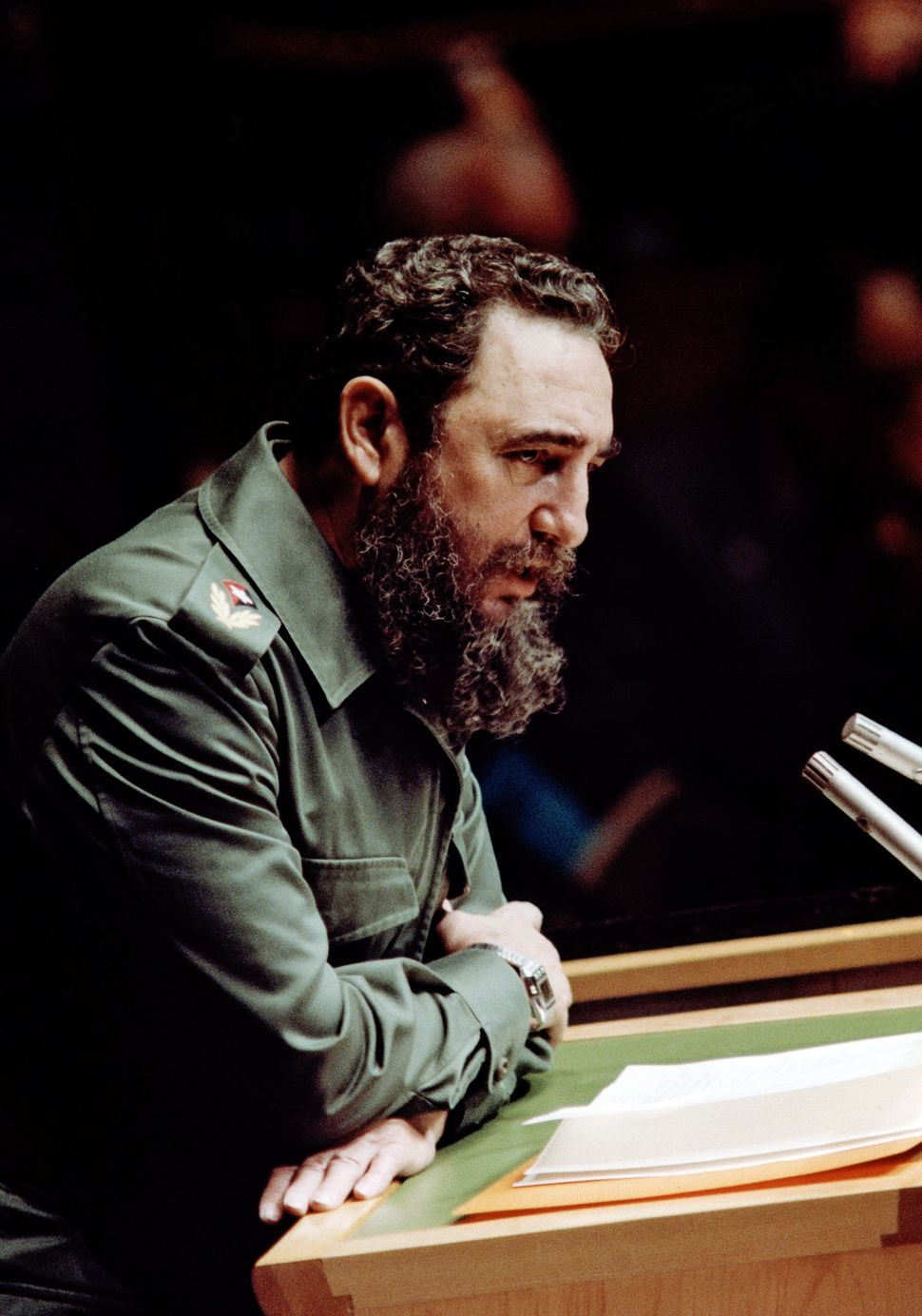 Castro addresses the United Nations General Assembly in New York in 1960.