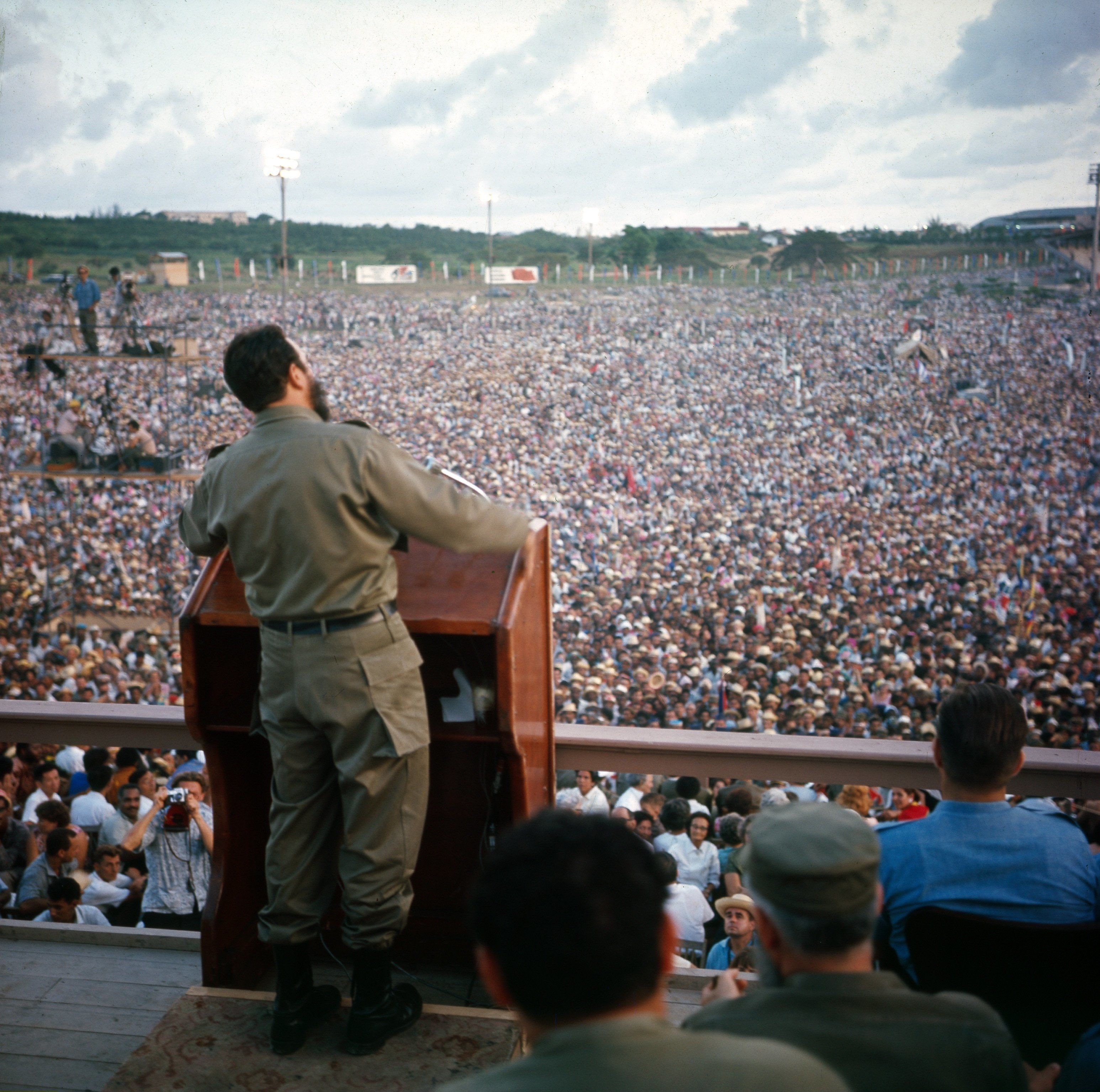 Castro addresses a huge crowd in Santiago de Cuba in 1964 on the anniversary of the revolution.