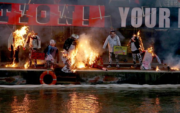 A collection of punk music memorabilia went up in flames on Saturday in a protest meant to highlight...