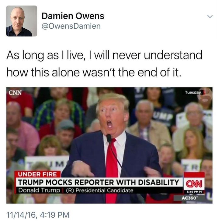 A screenshot of a tweet by Damien Owens including an image of Donald Trump physically mocking disabled reporter Serge Kovales