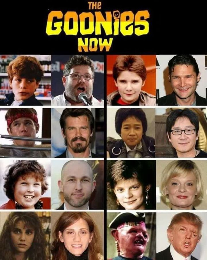 "A side-by-side image labeled ""The Goonies Now"" it shows then and now photos of the cast of the 1985 film The Goon"