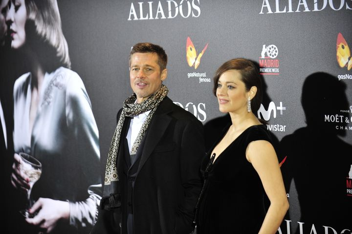 Brad Pitt and Marion Cotillard attend the Madrid Premiere of 'Allied' at Callao City Lights on Nov. 22, 2016 in Madrid, Spain