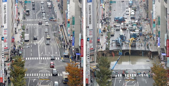 A side-by-side image of the sinkhole and the repaired road.