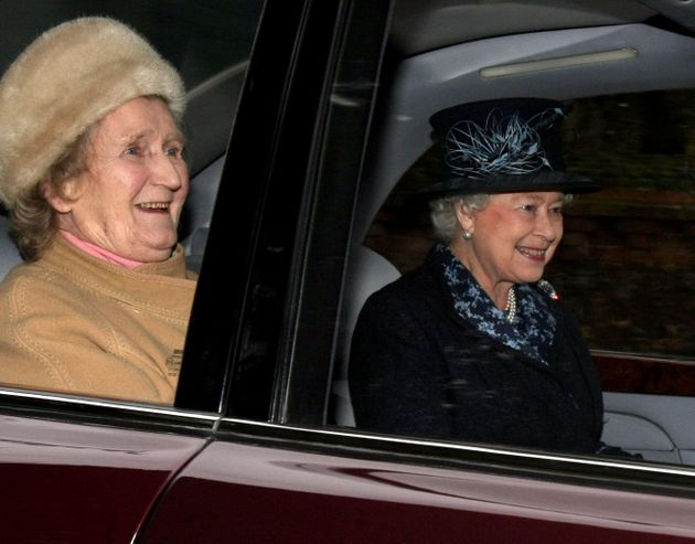 Mrs Rhodes and the Queen leavingSt Mary Magdalene's Church on the Sandringham