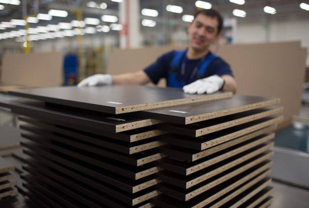Raw materials: Wood stacked inside an Ikea factory in Russia in