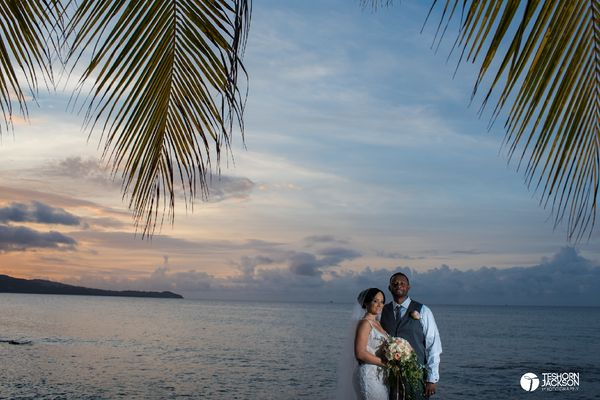 """Meagun and Maurice Jr. got married on Saturday at the Secrets Wild Orchid Resort in Montego Bay, Jamaica. Their gorgeous cer"