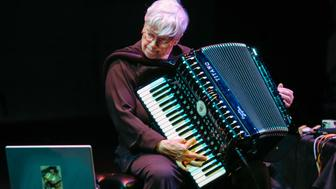 American avant-garde composer and accordionist Pauline Oliveros leads the Deep Listening Band at 'Sounds Like Now: Celebrating the Interpretations Series at 15' at La Mama e.t.c., New York, New York, Saturday evening, October 16, 2004. (Photo by Jack Vartoogian/Getty Images)
