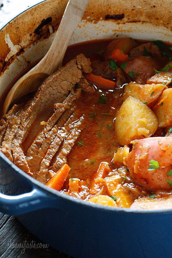 "<strong>Get the <a href=""http://www.skinnytaste.com/braised-brisket-with-potatoes-and/#more"" target=""_blank"">Braised Brisket"