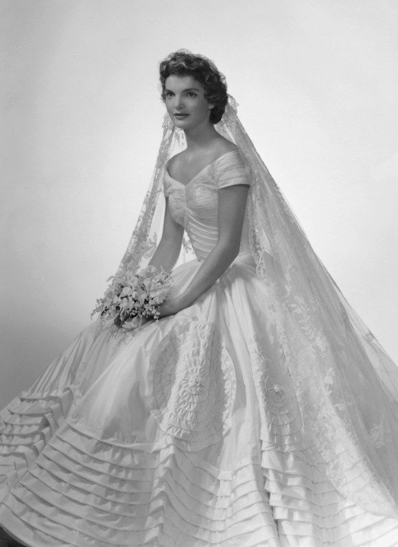 <p>Jackie Kennedy wearing her wedding dress designed by Ann Lowe.</p>