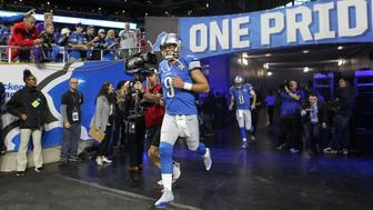 Detroit Lions quarterback Matthew Stafford (9) runs out the tunnel for pre-game warm ups prior an NFL football game against the Minnesota Vikings in Detroit, Michigan USA, on Thursday, November 24,  2016. (Photo by Jorge Lemus/NurPhoto via Getty Images)