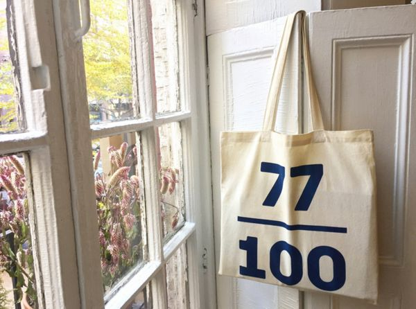"""$25, Prink Shop. <a href=""""https://prinkshop.com/collections/all/products/cotton-tote-77-100"""" target=""""_blank"""">Buy it here</a>."""