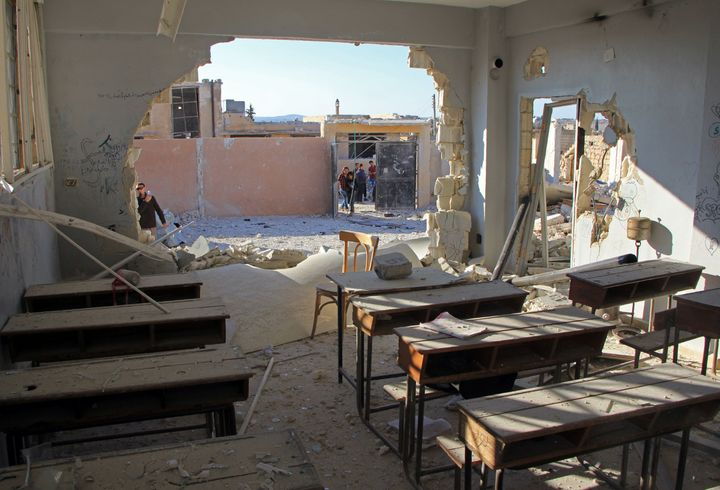 A damaged classroom at the school in Haas that was destroyed by an Oct. 26 airstrike.