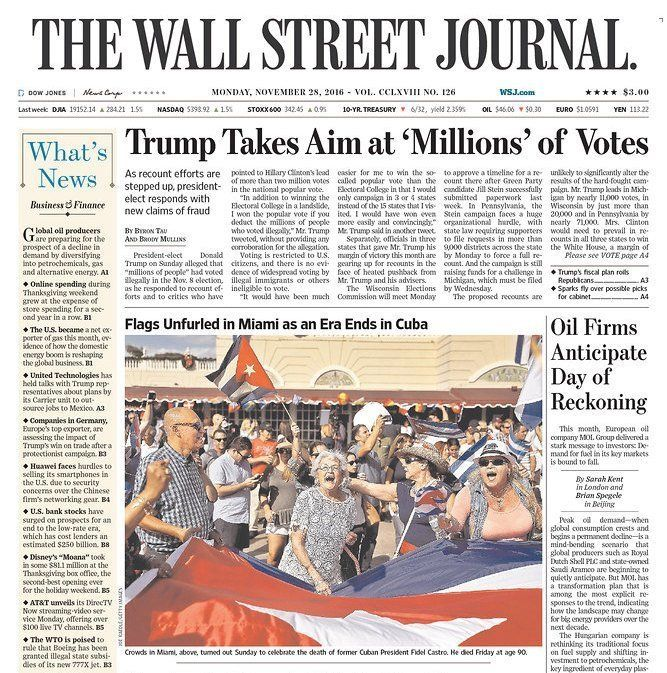 The Wall Street Journal didn't qualify in its headline that Trump's voting claim is false.