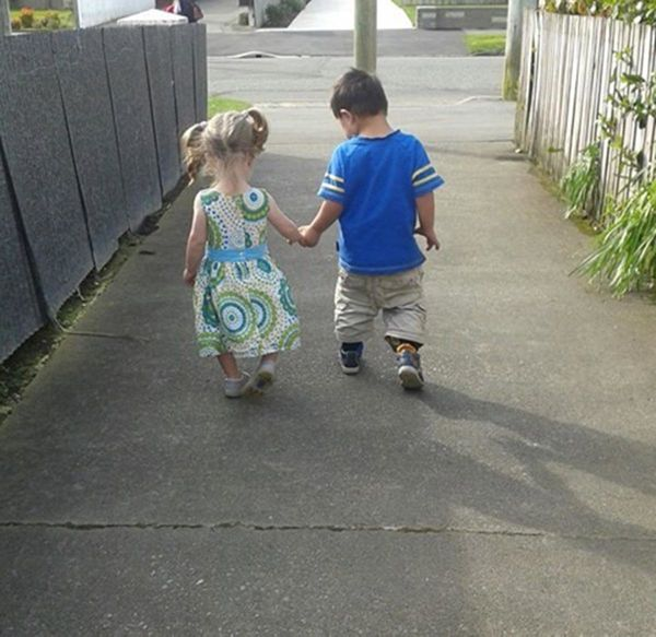 """""""Here are my 2 youngest children. On this day Miss was 18 monthsand Mr. was 4 years. Mr. has Down syndrome and came int"""