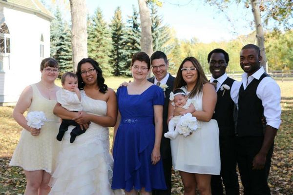 """""""My parents adopted me (the bride) and my sister from the Northwest Territories, my three brothers (one not pictured) from Ha"""