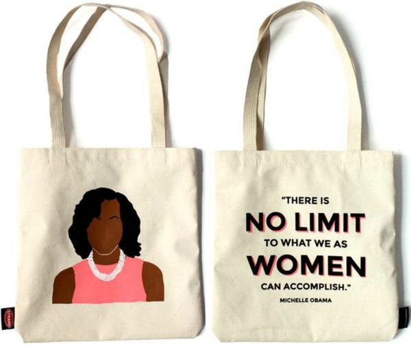 "$18.95, Strand. <a href=""http://www.strandbooks.com/product/tote-michelle-obama-icon"" target=""_blank"">Buy it here</a>."