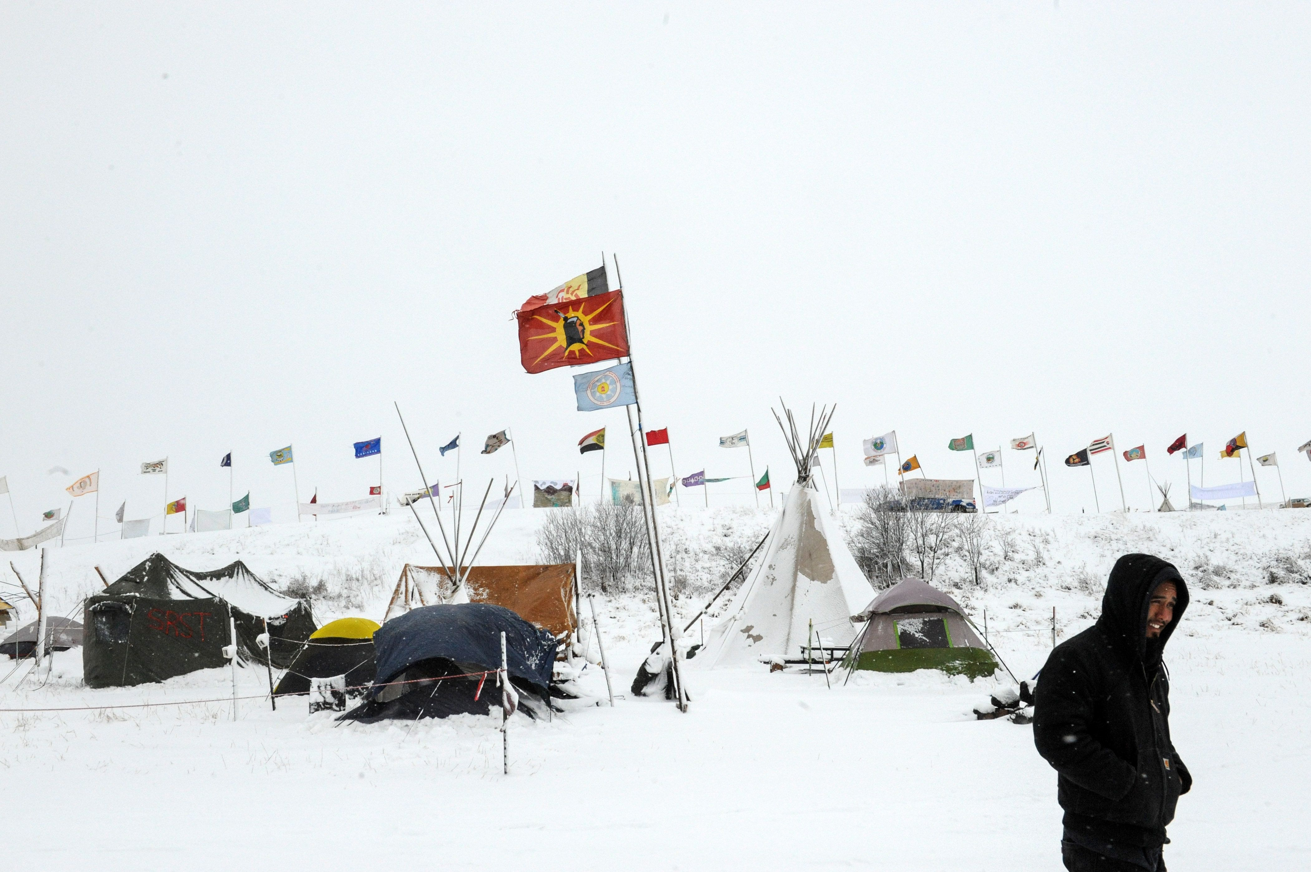 Snow blankets the Oceti Sakowin camp, site of protests against construction of the Dakota Access Pipeline near the Standing R