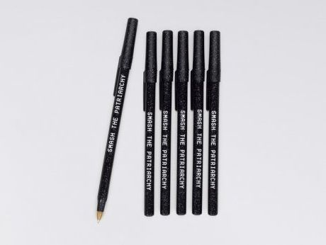 """$9, Wildfang. <a href=""""http://www.wildfang.com/smash-the-patriarchy-sparkle-pens113720.html"""" target=""""_blank"""">Buy here</a>."""