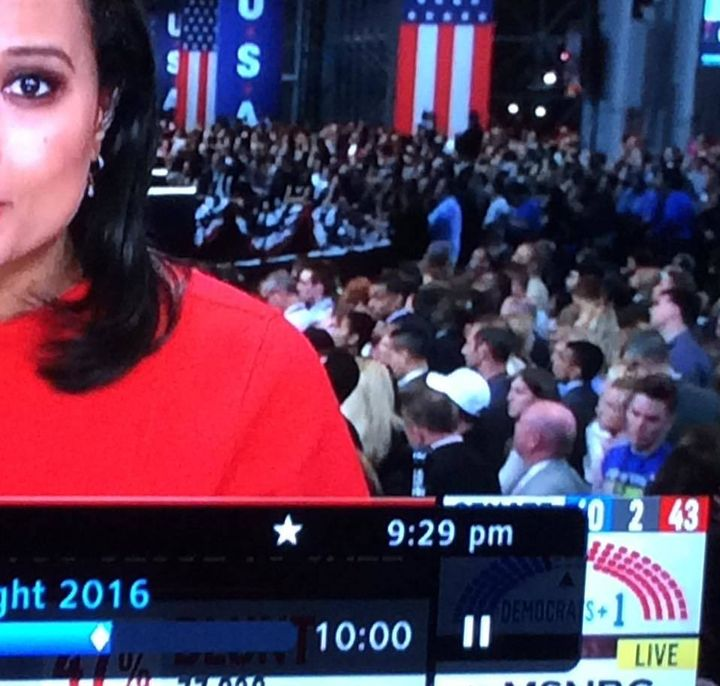 MSNBC, November 8. I'm in the bottom right-hand corner, blue T-shirt. The screengrab captures the exact moment I turned t