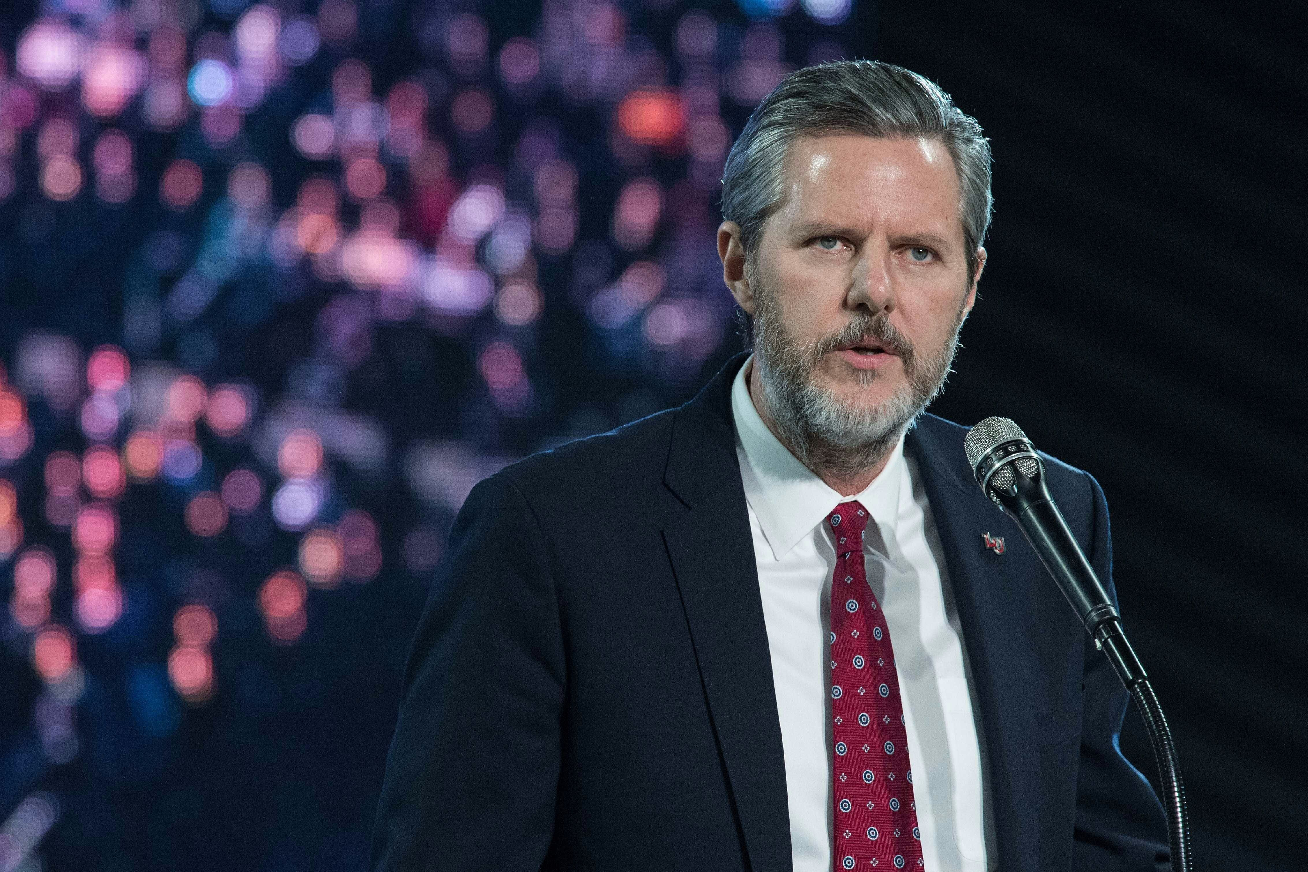Liberty University president Jerry Falwell Jr. introduces US Republican presidential candidate Donald Trump at a rally at Liberty University, the world's largest Christian university, in Lynchburg, Virginia, on January 18, 2016.  / AFP / NICHOLAS KAMM        (Photo credit should read NICHOLAS KAMM/AFP/Getty Images)
