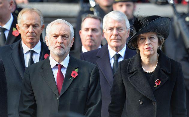 Blair with Corbyn, Sir John Major and Theresa