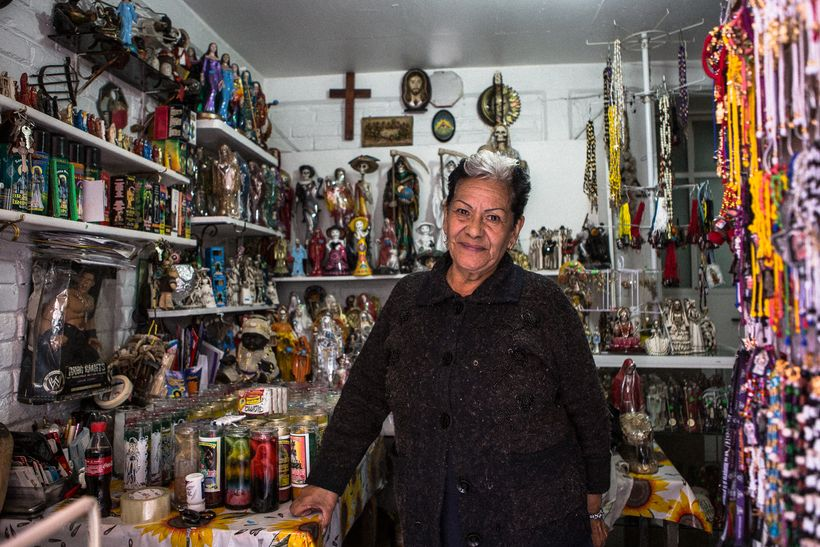 Enriqueta Romero, the Godmother of Santa Muerte devotion, at her shop in Tepito