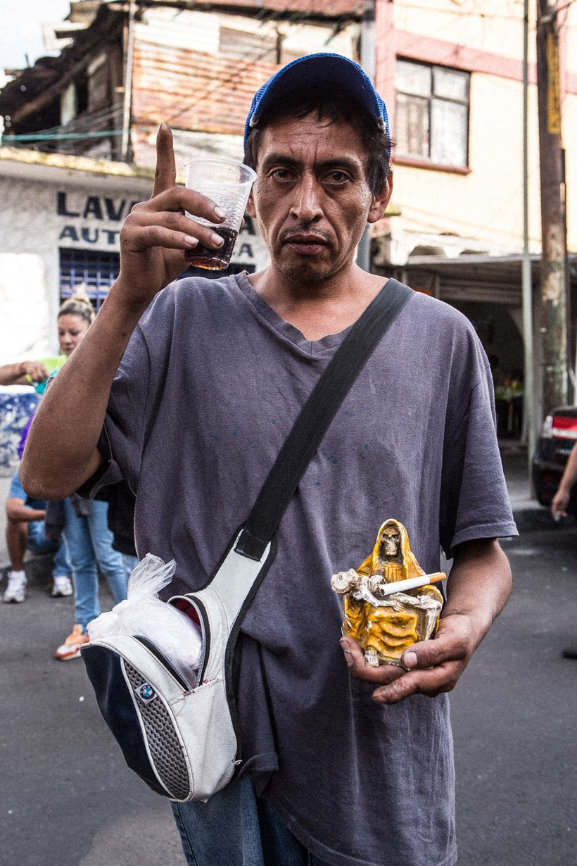Santa Muerte devotee who brought his Bony Lady to be blessed at the Tepito shrine