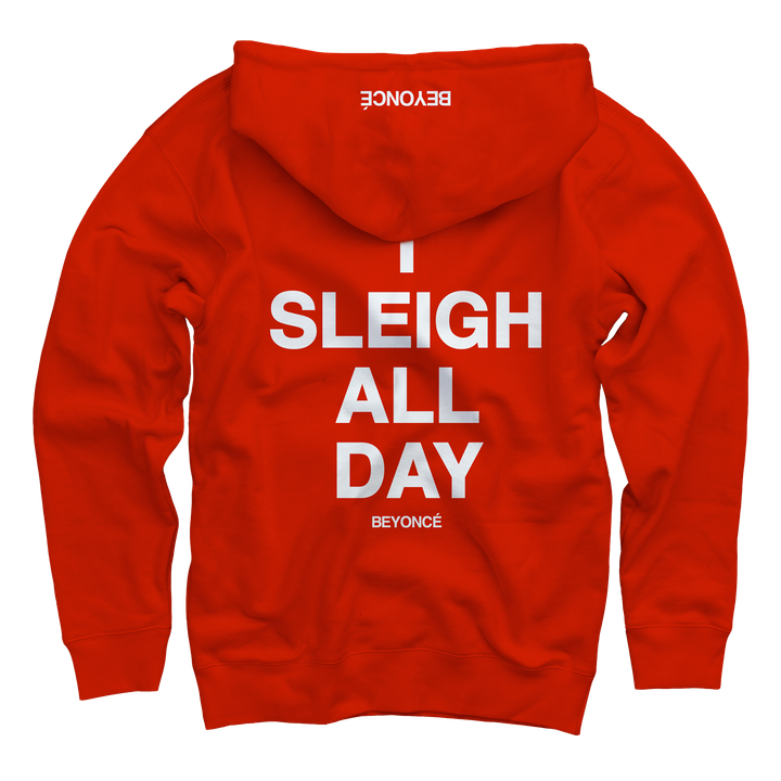 """<a href=""""http://shop.beyonce.com/products/59232-i-sleigh-red-pullover-sweatshirt"""" target=""""_blank"""">Pullover sweatshirt</a>, $60."""