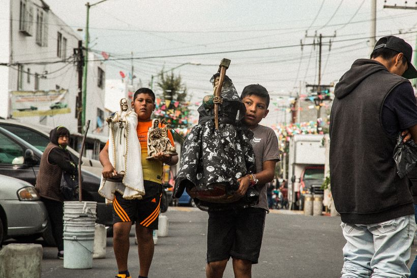 Boys with Bony Ladies on their way to the Santa Muerte shrine in Tepito
